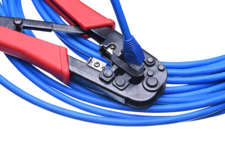 crimping: Crimping tool with network cable isolated on white background