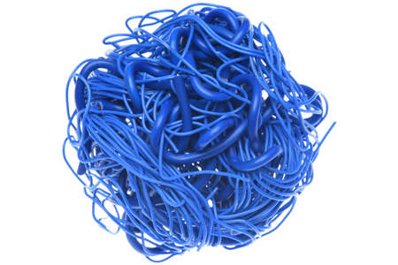 network cables: Ball of blue cables isolated on white background