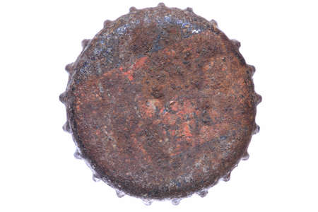 Single rusty bottle cap isolated on white background Reklamní fotografie