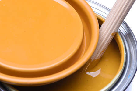 yellow paint: Yellow paint can Stock Photo