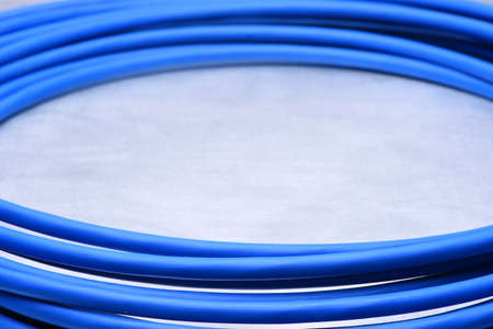 electric blue: Blue cable on a gray background