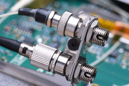 connectors: Closeup of optical communication connectors