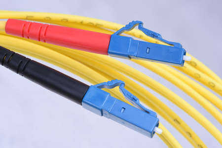 fiberoptic: Closeup optic single mode type LC patch cord