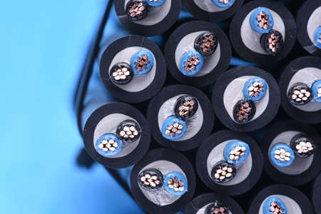 cables electricos: Group of electric cables closeup