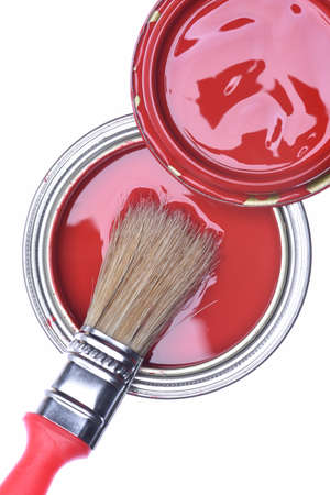 Top view of red paint can with brush isolated on white background Stock Photo