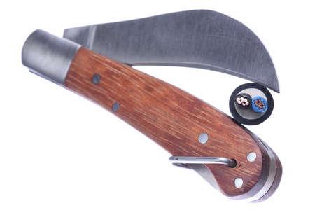 utility knife: Utility knife tool closeup isolated on white background Stock Photo