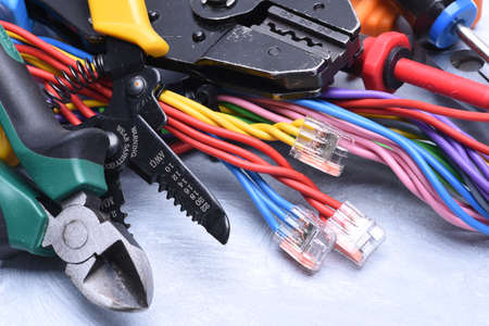 manual measuring instrument: Set of tools for electrician and electrical cables