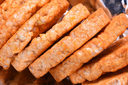 galettes: Puffed rice cakes with pepper closeup