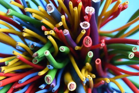 Group of colorful electric cables close up
