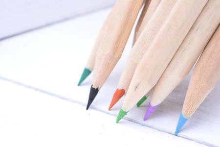 sharp: Group of sharp wooden crayons closeup Stock Photo