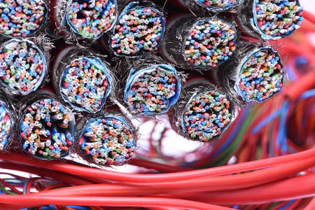 Electrical and Telecommunication Cables Close Up Stock Photo
