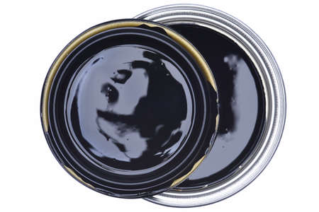paintbucket: Can of Paint Black Top View Isolated on White Background Stock Photo