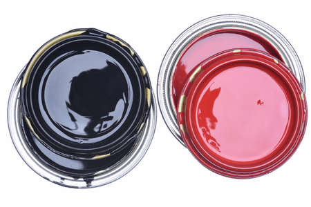 paintbucket: Cans of Red and Black Paint Top View Isolated on White Background