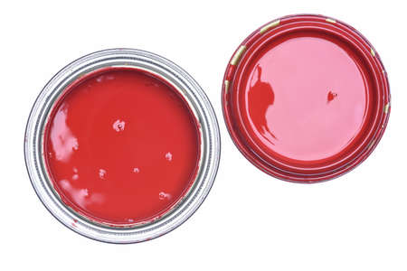 paintbucket: Can of Red Paint Top View Isolated on White Background