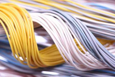 Closeup of cable and wire in internet network systems