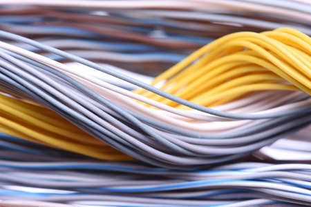 selective focus: Closeup of cable and wire in internet network systems