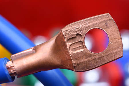 lug: Electrical Cable with Copper Lug Stock Photo