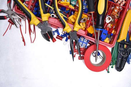 Set of tools on metal background, copy space Stock Photo