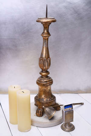 Antique wooden plated candlestick with accessories