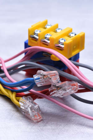 connectors: Colorful electrical cables with connectors Stock Photo