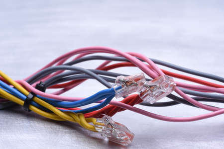 Colorful electrical cables with connectors Stock Photo