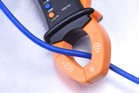 Clamp meter tool with cable, measuring electrical installations