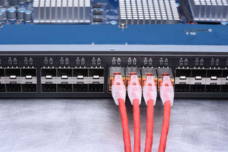Technology Devices Network Switch with Ethernet Cables Stock Photo