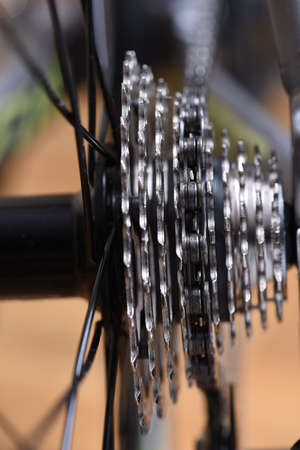 freewheel: Bicycle gears cassette and chain closeup Stock Photo
