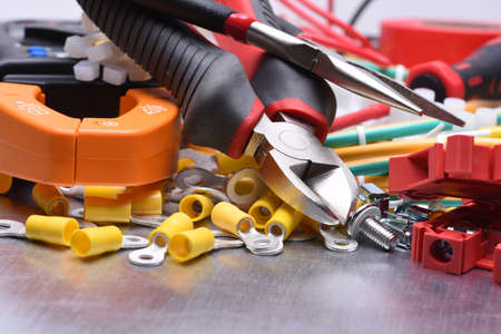 crimping: Tools for electrician and cables Stock Photo