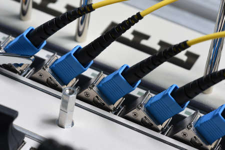 Optical fiber network cables with patch cords Stock Photo