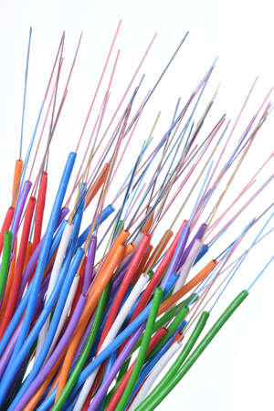 Colorful Fiber Optical Cables with Loose Filled Gel Tube, Closeup Abstract in Future Technology