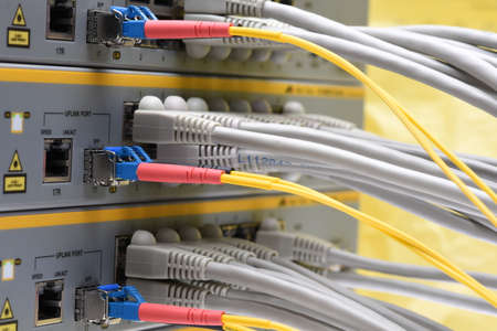 linked: cable is linked to the network switch in the data center