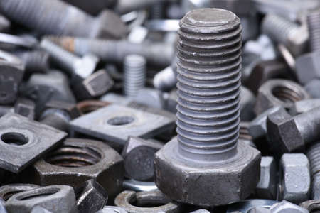 Steel nuts and bolts close up Stock Photo