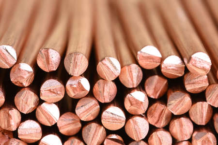 Copper wire raw materials and metals industry and stock market concept Stock Photo