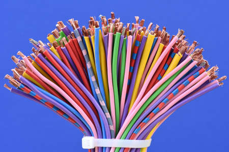 Colored electric cables closeup