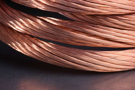 Copper wire, concept of industry. Development and market of raw materials