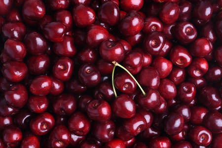 Fresh sweet cherry fruit on the market as background