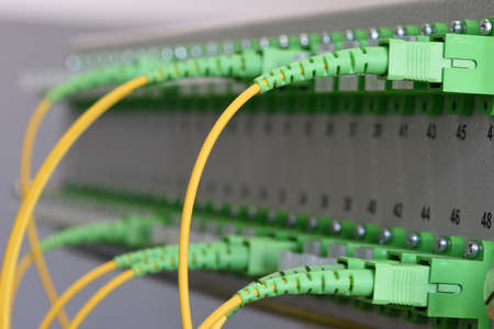 Optical distribution frame with optical networks at gigabit passive optical of FTTH networks Stock Photo