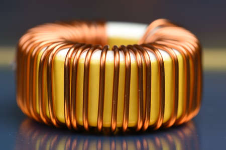Inductor copper coil closeup