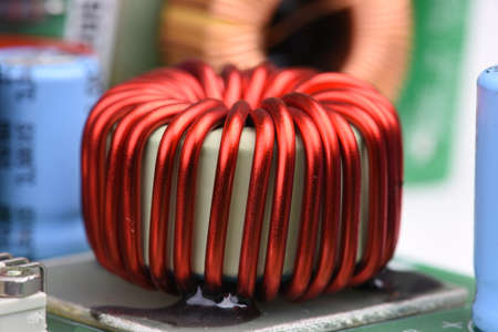 Copper Coil Inductor on Electronic Circuit Board