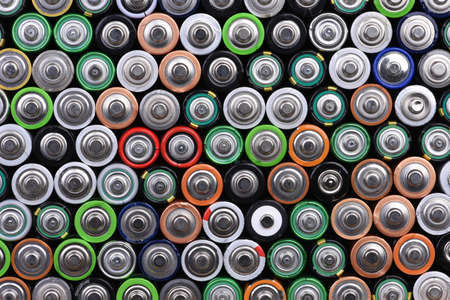 Top view of alkaline battery AA size energy background