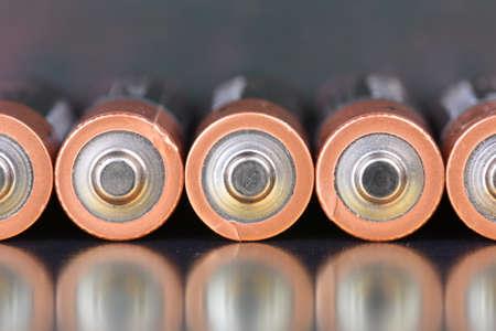 Row alkaline battery aa size closeup Imagens