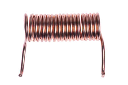 Copper coil isolated on white background Stock fotó