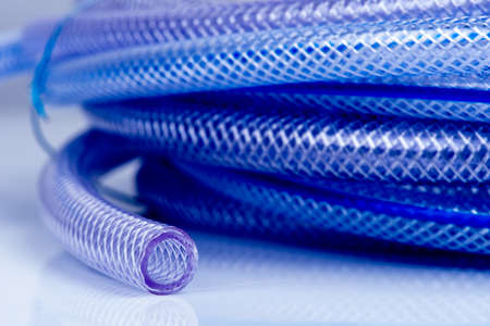 Macro of soft PVC braided banner compressor hose Stock fotó