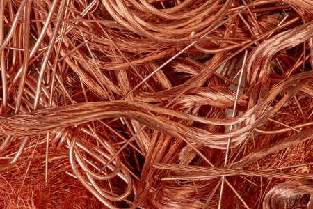 Gros plan sur les matières premières en fil de cuivre Banque d'images