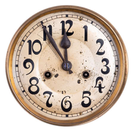 Old vintage dial clock isolated on white background Imagens