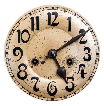 Old vintage clock face isolated on white background Imagens