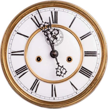 Vieux cadran d'horloge antique avec chiffre romain isolé sur fond blanc Banque d'images