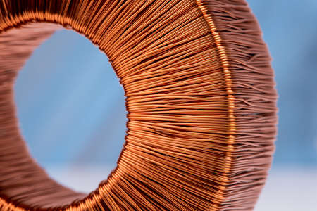 Macro of copper coil magnetic field Archivio Fotografico