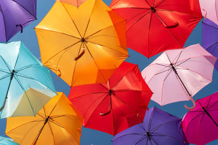 Street decoration colorful umbrellas background